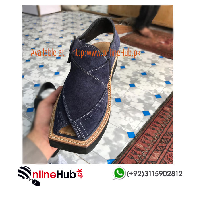 3e3f7d064d56 New Kaptaan Peshawar Chappal in Blue suede leather KP078